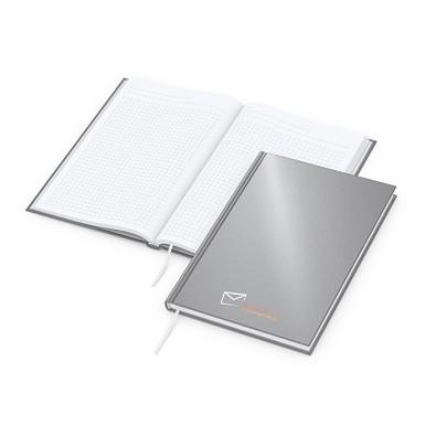 geiger notes Notizbuch Note-Book A5 Cover-Star, Siebdruck x.press, matt-silber