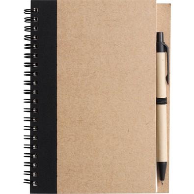 Notizbuch Recycling mit Kugelschreiber, schwarz