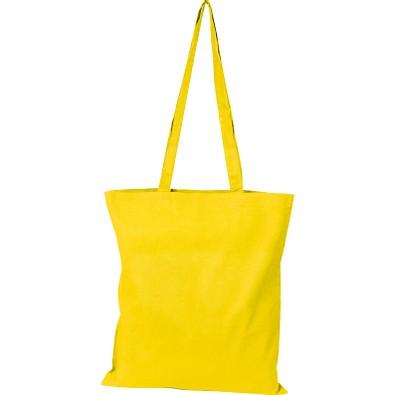 Oeko-Tex® STANDARD 100 Baumwolltasche mit langen Henkeln, 140g/m², gelb