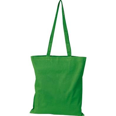 Oeko-Tex® STANDARD 100 Baumwolltasche mit langen Henkeln, 140g/m², grün