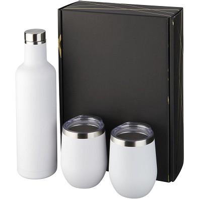 Pinto und Corzo Kupfer-Vakuum isoliertes Geschenkset, Flasche 750 ml, Becher 350 ml, weiss