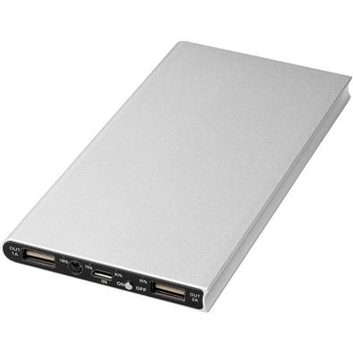 Plate Aluminium-Powerbank, 8.000 mAh, silber