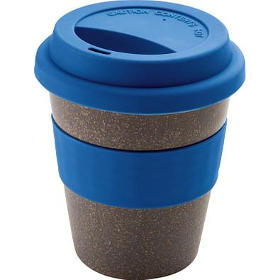 Polypropylen-Trinkbecher mit Bambusfaser, Silikondeckel und Ummantelung, 250 ml, blau