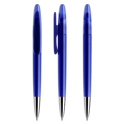 prodir® Drehkugelschreiber DS 5 mit polierter Metallspitze, blaue Mine, dunkelblau transparent