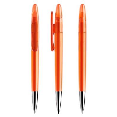 prodir® Drehkugelschreiber DS 5 mit polierter Metallspitze, blaue Mine, orange transparent