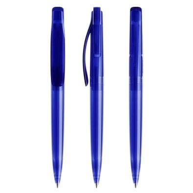prodir® Druckkugelschreiber DS 2 ohne Metallspitze, blaue Mine, dunkelblau transparent