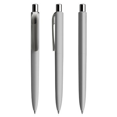 prodir® Kugelschreiber DS8 Soft Touch PRR Push, delfingrau/silber poliert