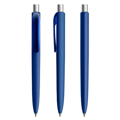 prodir® Kugelschreiber DS8 Soft Touch PRR Push, klassikblau/silber satiniert