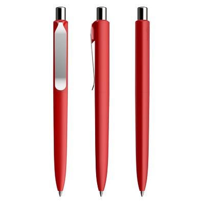 prodir® Druckkugelschreiber DS8 Soft Touch PSR Push, blaue Mine, dunkelrot/silber poliert