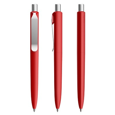 prodir® Druckkugelschreiber DS8 Soft Touch PSR Push, blaue Mine, dunkelrot/silber satiniert