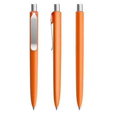 prodir® Druckkugelschreiber DS8 Soft Touch PSR Push, blaue Mine, orange/silber satiniert