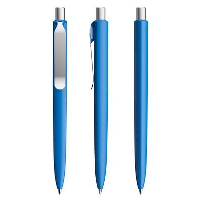 prodir® Druckkugelschreiber DS8 Soft Touch PSR Push, blaue Mine, blau/silber satiniert