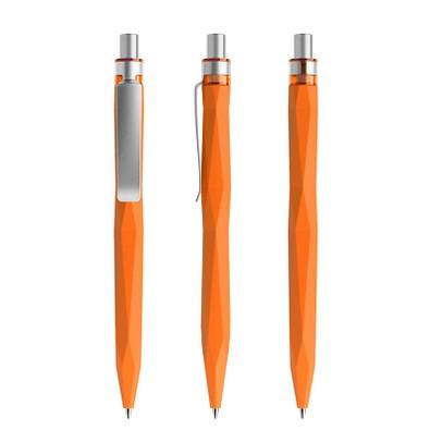 prodir® Kugelschreiber QS20 Soft Touch PRS Push, orange/silber satiniert