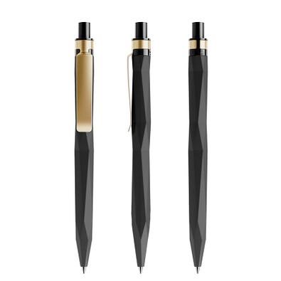prodir® Druckkugelschreiber QS20 Soft Touch PRS Push, blaue Mine, schwarz/gold