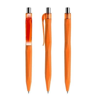 prodir® Kugelschreiber QS20 Soft Touch PRT Push, orange/silber poliert