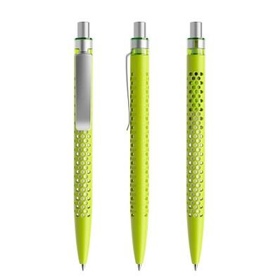 prodir® Druckkugelschreiber QS40 PMS Push, blaue Mine, gelbgrün/silber satiniert