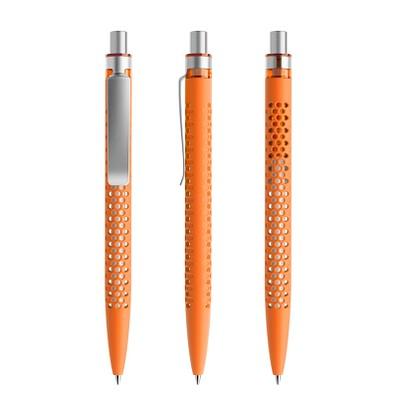 prodir® Druckkugelschreiber QS40 Soft Touch PRS Push, orange/silber satiniert