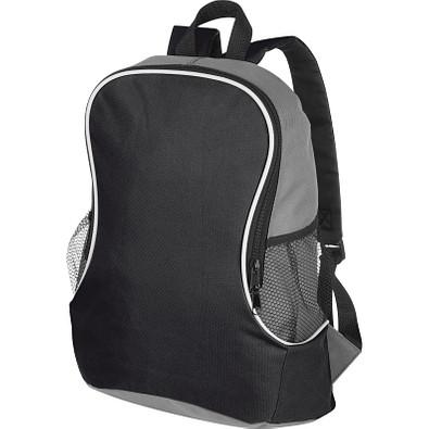 Rucksack mit Seitenfächern aus Polyester, schwarz