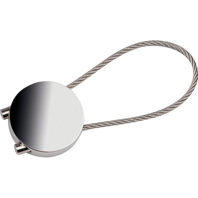 Runder Schlüsselanhänger mit Drahtschlaufe, grau