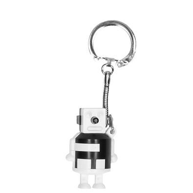 """Schlüsselanhänger """"Knobel-Roboter"""", weiß/schwarz"""