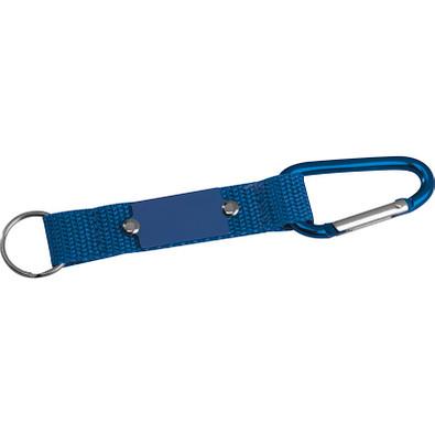 Schlüsselanhänger mit Karabiner und Plättchen aus Metall, blau
