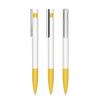 senator® Druckkugelschreiber Liberty Polished Basic SG MC, weiß,gelb 7408