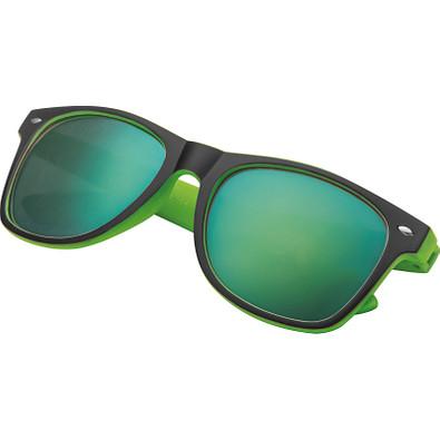 Sonnenbrille aus Kunststoff mit verspiegelten Gläsern, UV 400 Schutz, grün