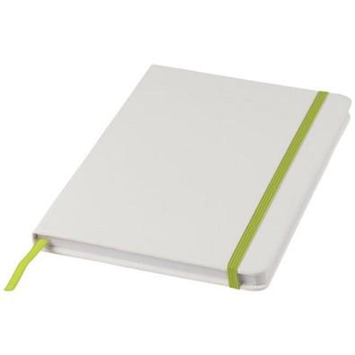 Spectrum weißes DIN A5 Notizbuch mit farbigem Gummiband, weiss,Lindgrün