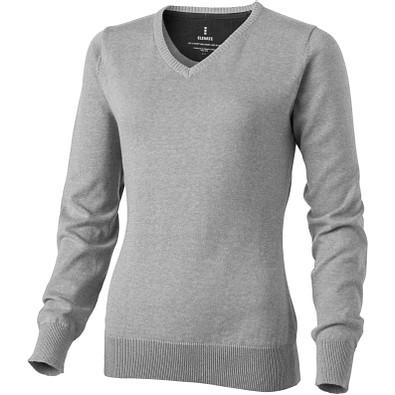 ELEVATE Damen Pullover Spruce mit V Ausschnitt, grau meliert, L