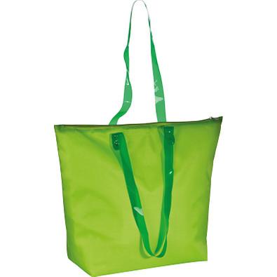 Strandtasche aus Polyester mit transparenten Henkeln, apfelgrün