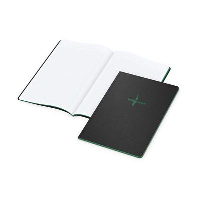 geiger notes Broschur Tablet-Book A4, Farbschnitt und Prägung in grün