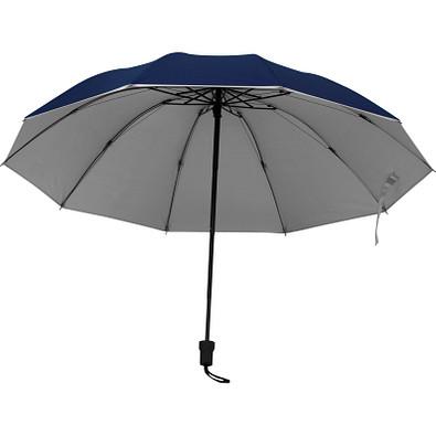 Taschenschirm aus Pongee mit silbernem Innenteil, dunkelblau