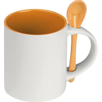 Tasse aus Keramik mit Löffel, 300 ml, orange