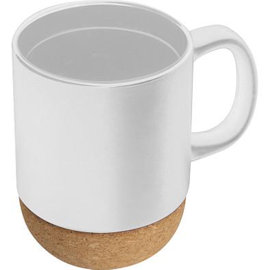 Tasse mit Korkbasis, weiss