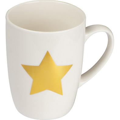 Tasse mit Stern Aufdruck aus Porzellan, 300 ml, weiss