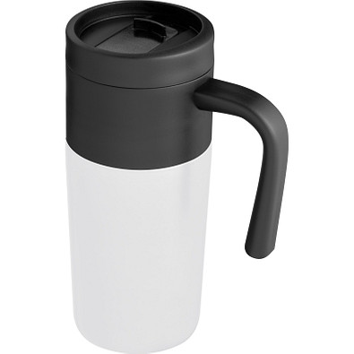 Thermobecher mit Edelstahlummantelung, 350 ml, weiss