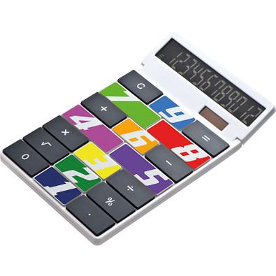 Tischrechner Eigendesign mit 12 Digits aus Kunststoff, weiss