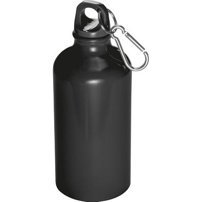 Trinkflasche aus Aluminium mit Karabinerhaken, 500 ml, schwarz