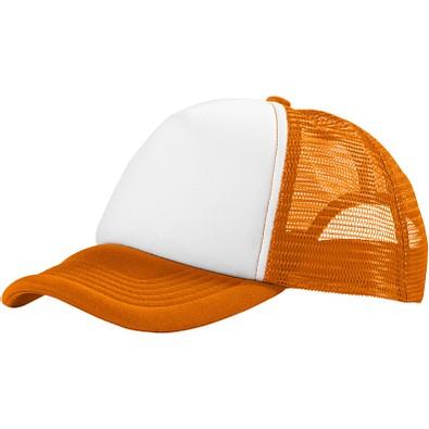 Trucker Kappe mit 5 Segmenten, orange,weiss