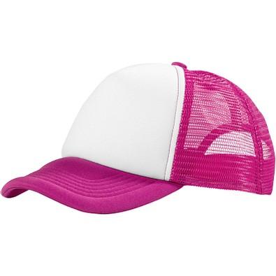 Trucker Kappe mit 5 Segmenten, rosa,weiss