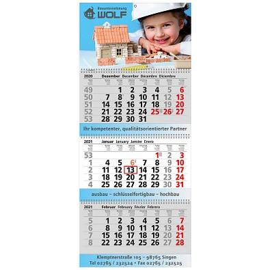 Block-Wandkalender mit Wire-O-Bindung 2021, 3 Block Kalender
