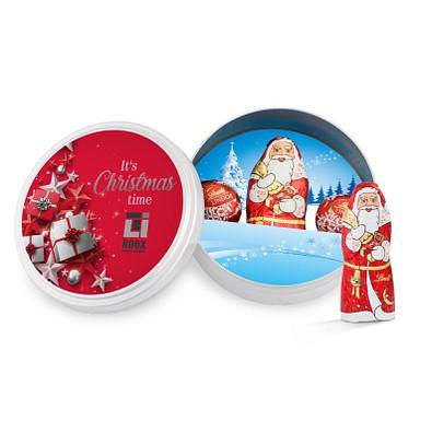 Lindt Weihnachtsdose, inkl. Druck, matt-silberne Dose