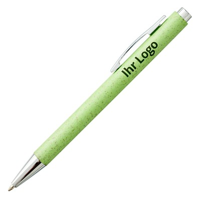 Weizenstroh-Druckkugelschreiber Tual, blaue Mine, apfelgrün