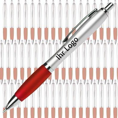 Werbe-Set: 400 Kugelschreiber Rio Satin, inkl. Druck, blaue Mine, silber/rot