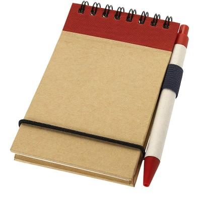 Zuse Spiral Notizblock mit Stift, DIN A7, liniert, natur,rot
