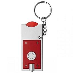 Schlüsselleuchte mit Einkaufswagenchip, Rot inkl. 1-farbigem Druck