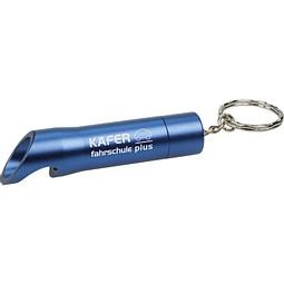 Taschenlampe mit Flaschenöffner, Blau inkl. Gravur