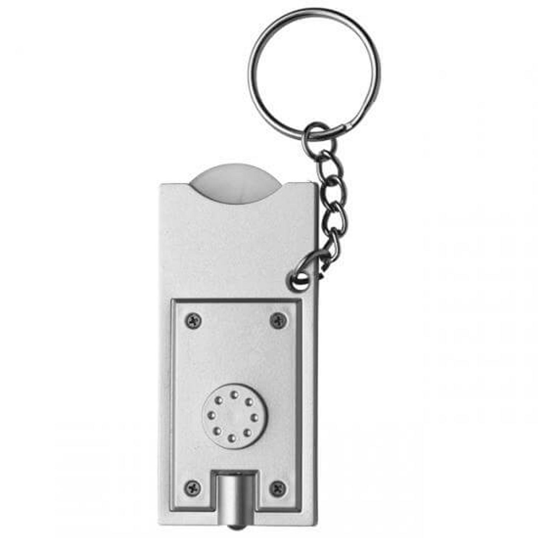 Schlüsselleuchte mit Einkaufswagenchip, Silber inkl. 1-farbigem Druck
