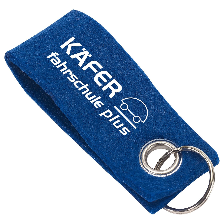 Filz-Schlüsselanhänger, Blau inkl. 1-farbigem Druck blau inkl. 1-farbigem Druck